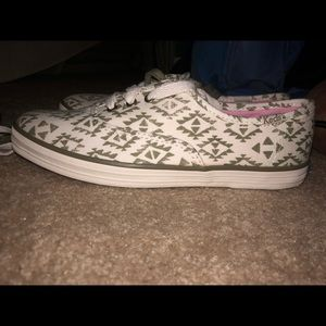 White & Olive ikat KEDS. New and unused.